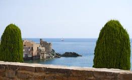 Erbalunga, wycieczki turysycznej d'Erbalunga, wierza, linia horyzontu, genueńczyka wierza, Corsica, nakrętka Corse, Haute Corse Zdjęcia Royalty Free