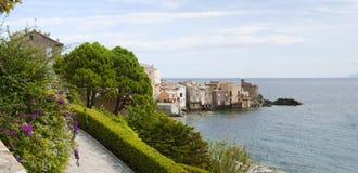 Erbalunga, wycieczki turysycznej d'Erbalunga, wierza, linia horyzontu, genueńczyka wierza, Corsica, nakrętka Corse, Haute Corse Fotografia Royalty Free
