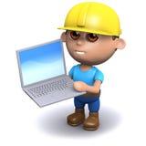 Erbauer 3d benutzt seinen Laptop-PC Stockbild