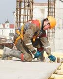 Erbauer, der Bauarbeiten bildet Stockfoto