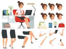 Erbauer der Geschäftsfrau Karikaturmaskottchen-Schaffungsausrüstung der Geschäftsfrau vektor abbildung