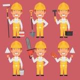 Erbauer Holds Different Tools Lizenzfreie Stockbilder