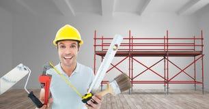 Erbauer mit vielen Werkzeugen im Guss des Baugerüsts 3D Stockbilder