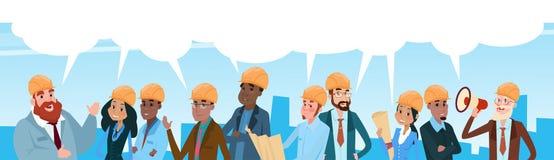 Erbauer-Team Architect Mix Race Workers-Chat-Kommunikations-Blasen-Unterhaltung lizenzfreie abbildung