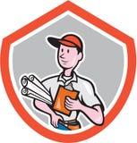 Erbauer-Tischler-With Plans Shield-Karikatur Lizenzfreie Stockfotografie
