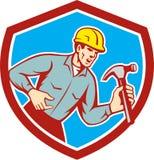Erbauer-Tischler Shouting Hammer Shield Retro- Stockbilder