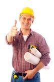 Erbauer zeigt Geste O.K. Lizenzfreies Stockbild