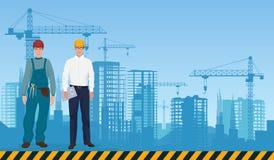 Erbauermannmanagerarchitekt und -arbeitskraft auf dem Baugebäudehintergrund Bauberufkonzept lizenzfreie abbildung