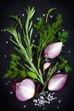 Erbe aromatiche fresche con la cipolla rossa, l'aglio ed il sale marino su un bl Fotografia Stock