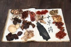 Erbe cinesi ed aghi di agopuntura Fotografie Stock Libere da Diritti