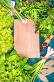Erbe differenti insalata, aneto, prezzemolo, coriandolo su un fondo di legno Posto per testo Fotografia Stock Libera da Diritti
