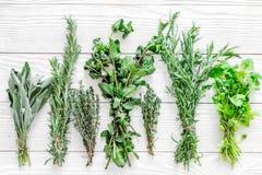 Erbe e pianta fresche di secchezza per l'alimento della spezia sul modello di legno bianco di vista superiore del fondo dello scr Fotografia Stock Libera da Diritti