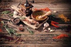 Erbe e spezie su fondo di legno Immagine Stock