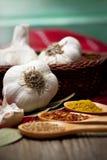 Erbe ed aglio fresco Fotografia Stock Libera da Diritti
