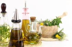 Erbe ed olio di oliva Immagine Stock Libera da Diritti
