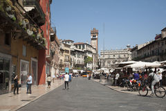 Erbe Square - the most ancient area of Verona. Stock Photo