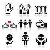Erbieten Sie sich, die Leute freiwillig, die den eingestellten Konzeptikonen helfen oder geben Lizenzfreie Stockbilder