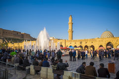 Erbil,Iraq. Erbil, Iraq - March 7, 2016: Famous square in Erbil city crowded with people located in the city center area Stock Photo