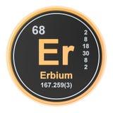 Erbium Er chemical element. 3D rendering. Isolated on white background vector illustration