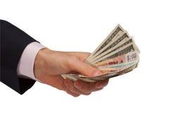 erbjuda för handpengar Arkivfoto