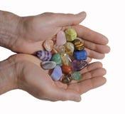 Erbjuda läka kristaller Arkivfoto