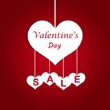 Erbjudande för försäljning för dag för valentin` s, banermall Etiketter för valentinhjärtaförsäljning Shoppa marknadsaffischdesig Arkivbild