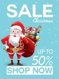 Erbjudande för julförsäljningsrabatt Tecknad film Santa Claus med den enorma röda påsen med gåvor i snöplats för befordranbaner f royaltyfri illustrationer