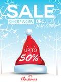 Erbjudande för julförsäljningsrabatt Tecknad filmjultomten hatt i skogsnöplatsen för befordranbaner för nytt år, titelrader, affi royaltyfri illustrationer