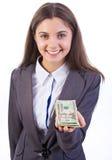 Erbjudande pengar för affärskvinna Arkivbilder