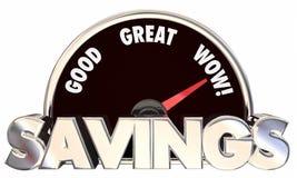 Erbjudanden för priser för besparinghastighetsmätare pengar sparade bästa Arkivfoto