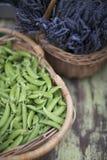Erbsen und Lavendel Stockbild
