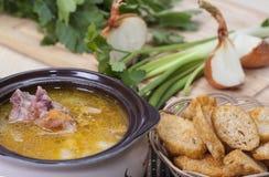 Erbsen-und Schinken-Suppe Lizenzfreies Stockfoto