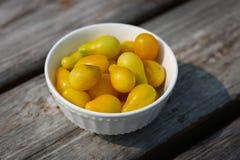 Erbstück-gelbe Birnen-Tomaten Stockbild