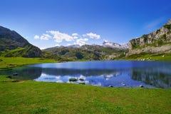 Ercina sjö på Picos de Europa i Asturias Spanien fotografering för bildbyråer
