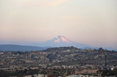 Erciyes. The Goreme National Park and mount Erciyes in Cappadocia at the evening Royalty Free Stock Photos
