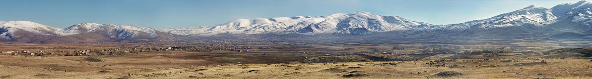 Landscape in Turkey. Landmark attraction. Panorama of Mountain Erciyes  Royalty Free Stock Photography