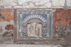 Ercolano, Italia Nettuno e Salacia, mosaico della parete in Camera 22, in rovine di Ercolano/Ercolano vicino a Napoli, l'Italia fotografie stock