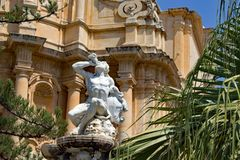 Ercole fontanna przy Noto Sicily Włochy zdjęcia royalty free