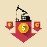 Erdöl, das innerhalb der Sanduhr fließt Ölpreis, der unten Pfeil mit Erdöl fällt vektor abbildung