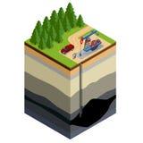 Erdölbohrungs-Erforschungskonzept Führen Sie Schreiben auf dem Papier vor den Erdgasrohren aus Raffinerie, Gas und Öl lizenzfreie abbildung