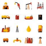 Erdölindustrie-Ikonen flach Stockbilder
