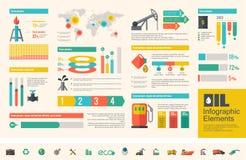 Erdölindustrie Infographic-Schablone Stockfotos