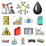 Erdölindustrie-Karikaturikonen in der Satzsammlung für Design Ausrüstungs- und Erdölgewinnung vector Netz des Symbols auf Lager Stockfotografie