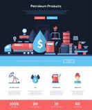 Erdölprodukt-Website-Titelfahne mit webdesign Elementen Stockbild