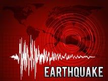 Erdbeben - Frequenzwelle, Kartenweltkreiswelle und Tonkunstdesign des Sprungsbodenvektors rotes Stockbild