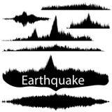 Erdbeben-Welle auf Papierfestlegung Audiowellen-Satz Stockfotos