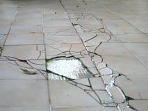 Erdbebensprung auf Fußboden Stockfotografie