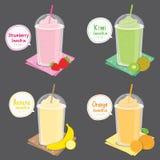 Erdbeer-Kiwi Banana Orange Juice Fruit-Smoothie-Karikatur-Vektor Lizenzfreie Stockfotos