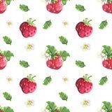 Erdbeer- und Blumenmuster lizenzfreie abbildung