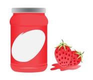 Erdbeer- und Flaschenverpackungsvektordesign Lizenzfreie Stockfotografie